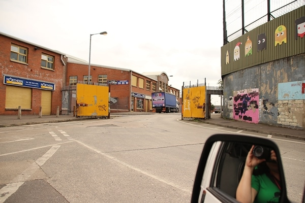 views of open gates near the Peace Wall in Belfast