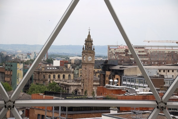 view of a clock tower from tower observatory over Victoria Square in Belfast