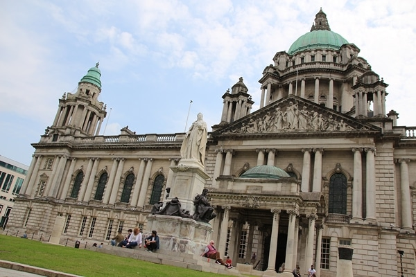 view of Belfast City Hall with Queen Victoria\'s statue in front