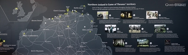 a map of Game of Thrones locations in Northern Ireland