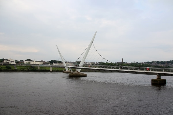 the Peace Bridge in Derry, Northern Ireland