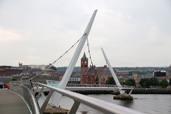 view of Guildhall from the Peace Bridge in Derry