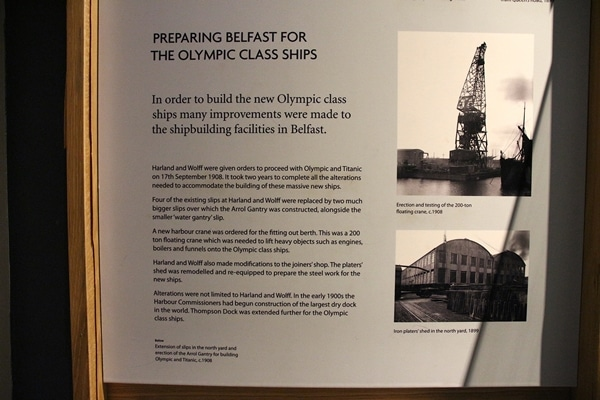 a sign that says Preparing Belfast for Olympic Class Ships