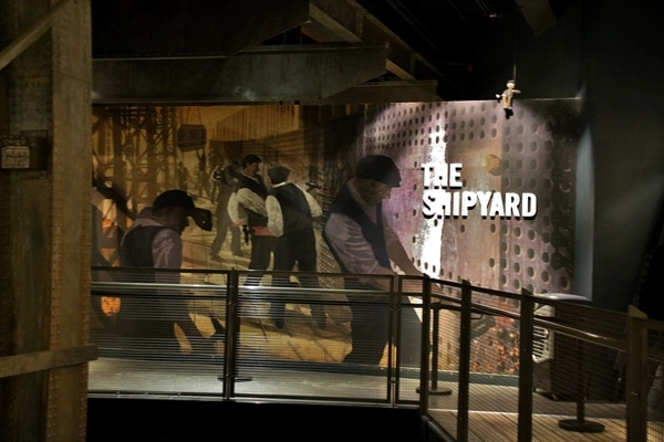 a display of The Shipyard in the Titanic museum