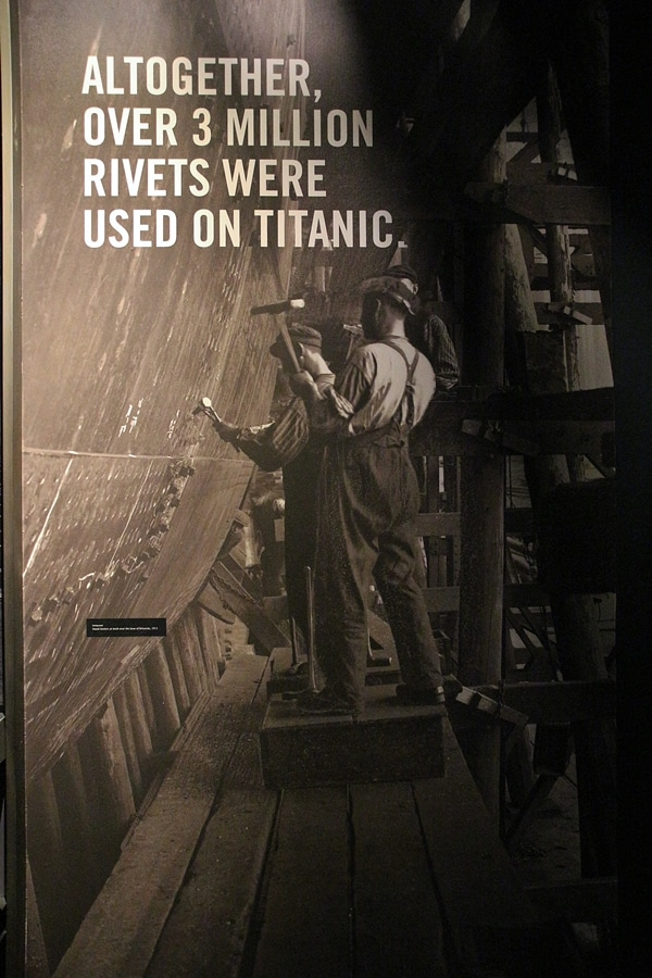 an image of someone adding rivets while building the Titanic