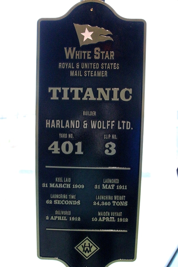 A close up of a sign about the Titanic