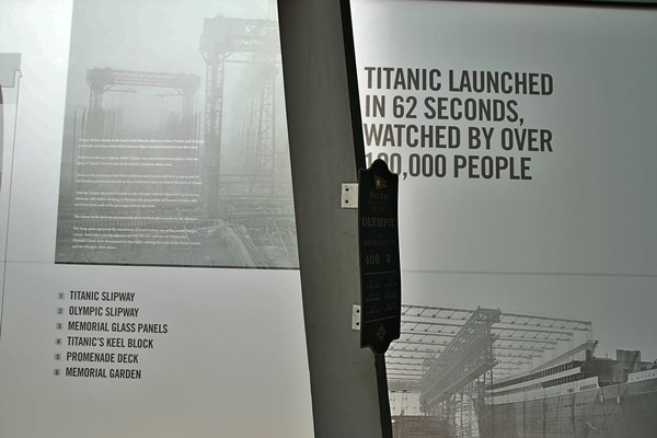 a sign with information about the Titanic