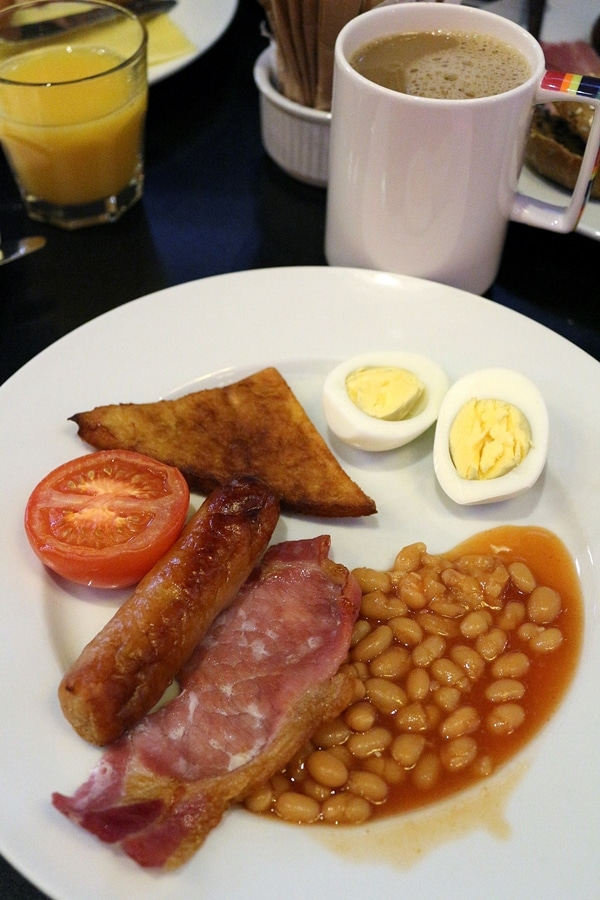 a plate of breakfast foods from a buffet