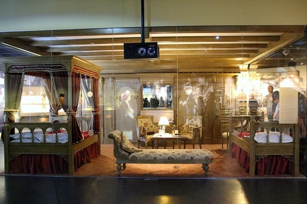 a replica of a first class cabin on the Titanic