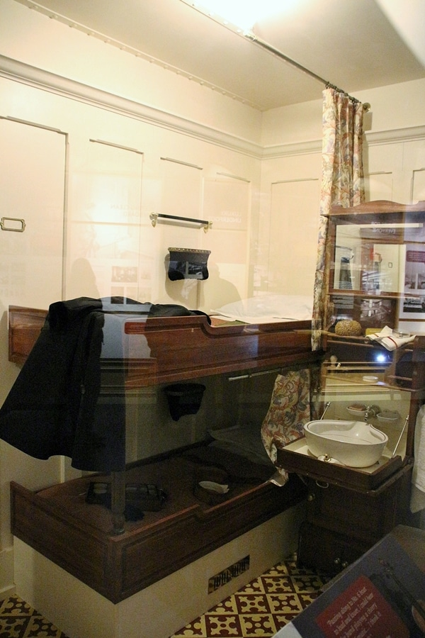 a replica of a second class cabin on the Titanic