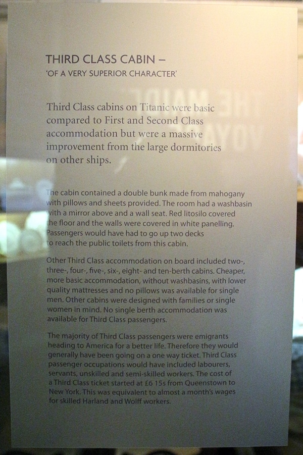 A close up of sign about third class cabins on the Titanic