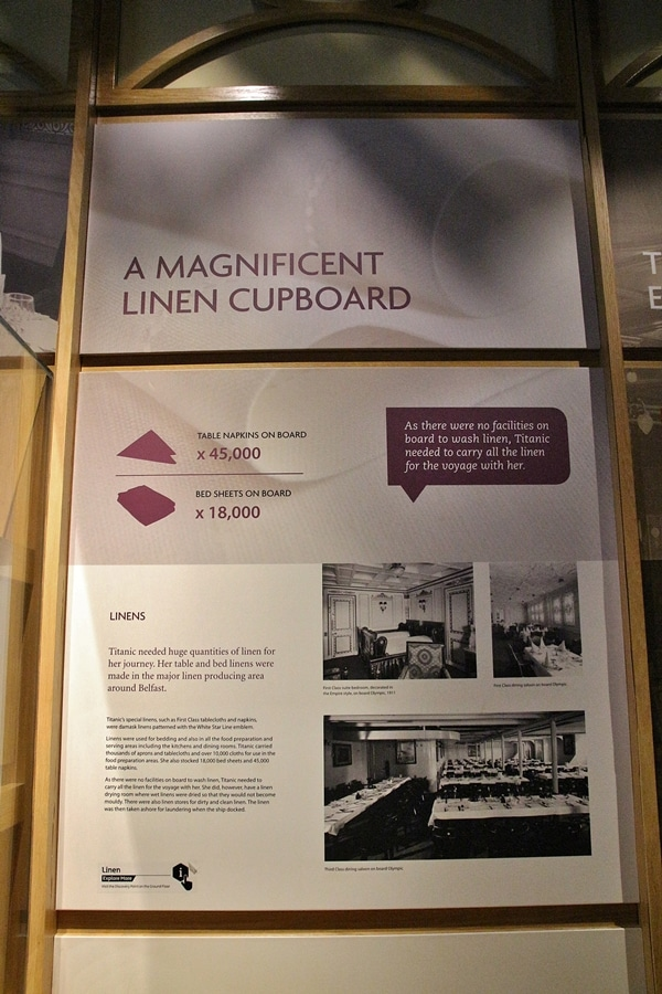 a museum display about linens on the Titanic