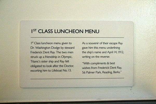 a sign that says 1st Class Luncheon Menu
