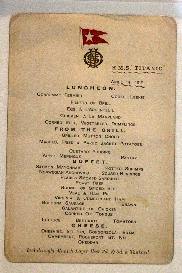 a lunch menu from the Titanic