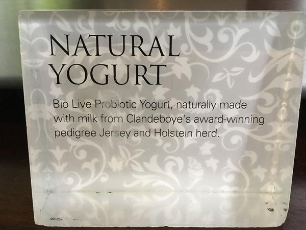 a sign that says Natural Yogurt