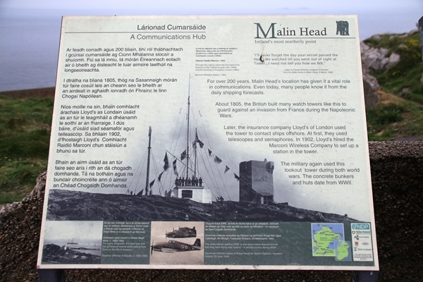 a sign with information about Malin Head