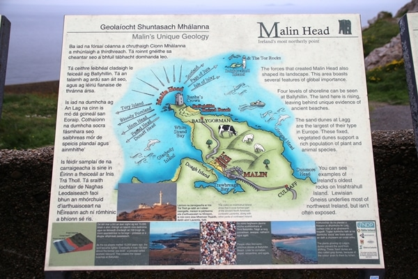 a sign about Malin Head