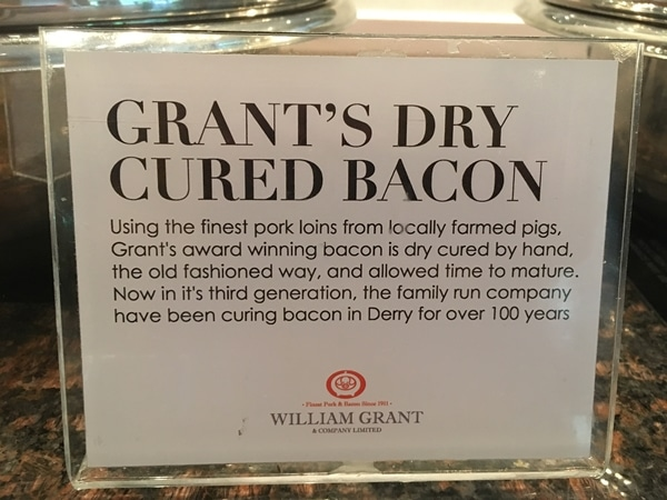a sign for Grant\'s dry cured bacon