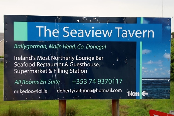 a sign for The Seaview Tavern