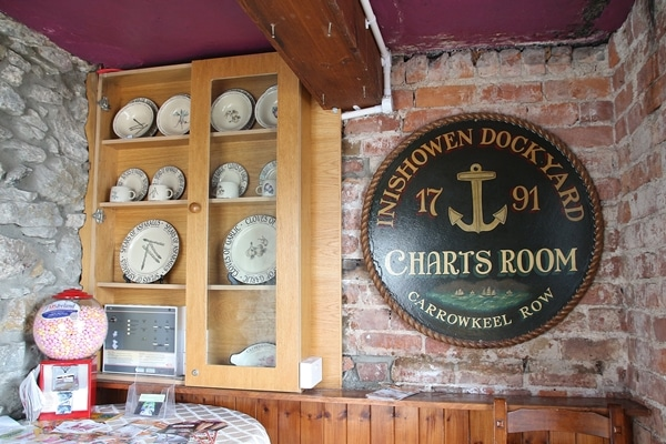 a sign that says Charts Room and a display of old dishes
