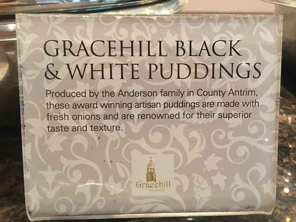 a sign for Gracehill Black and White Puddings