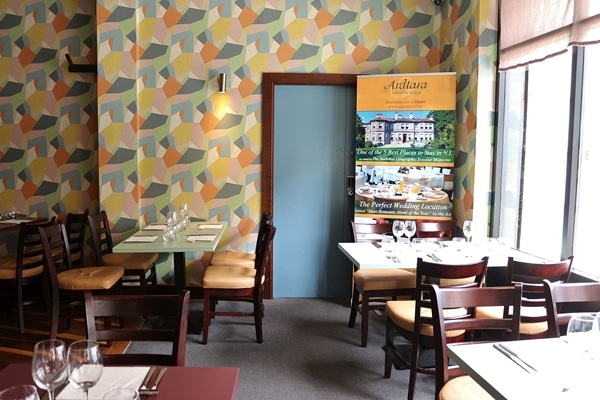 interior of a restaurant with colorful walls