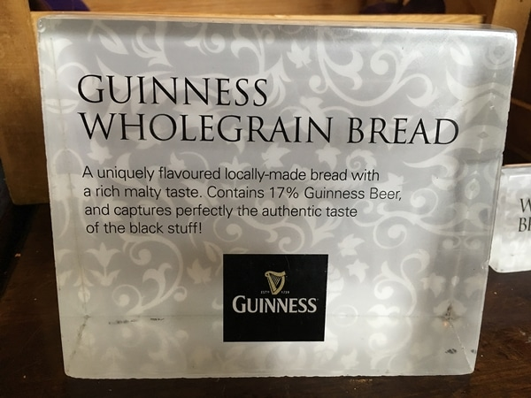 a sign that says Guinness Wholegrain Bread