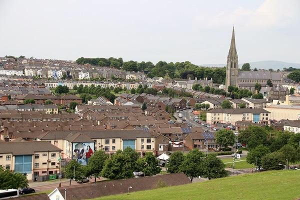a wide view of Derry, Northern Ireland