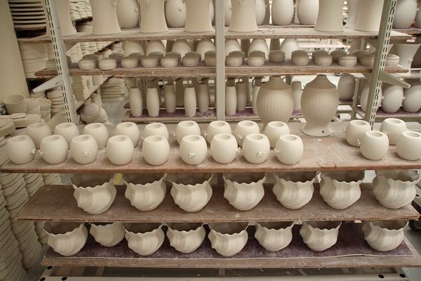 a warehouse filled with pottery