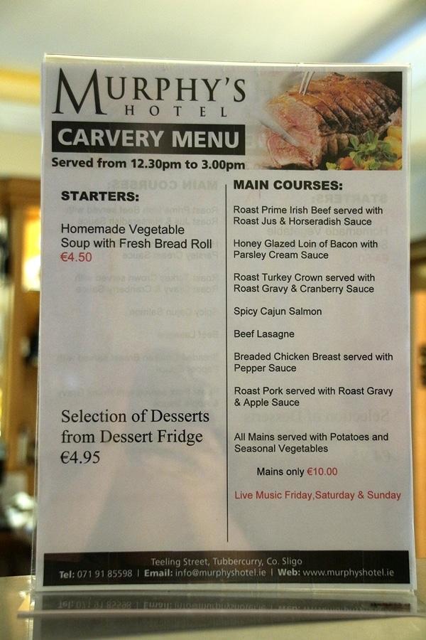 A close up of a carvery menu