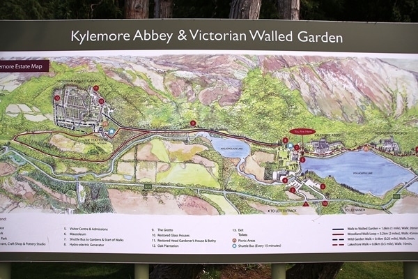 a map of the grounds of Kylemore Abbey