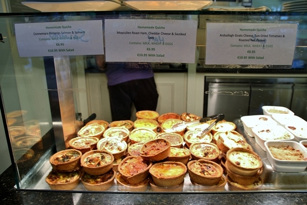 A display of individual quiches in a cafe