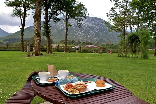 a picnic table with trays of food on it, and trees and mountains in the distance