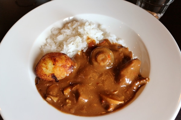 A plate of stew with rice