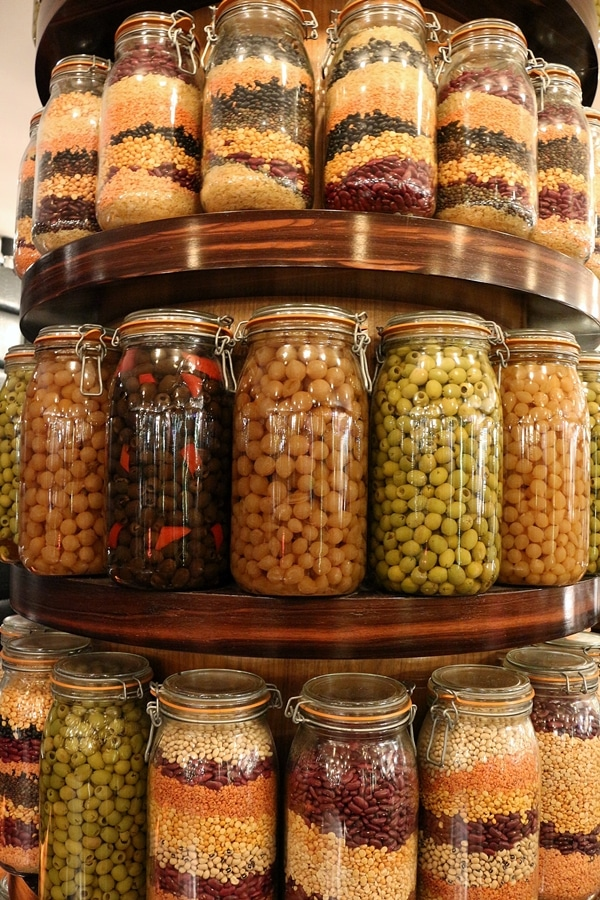 large jars of food on display