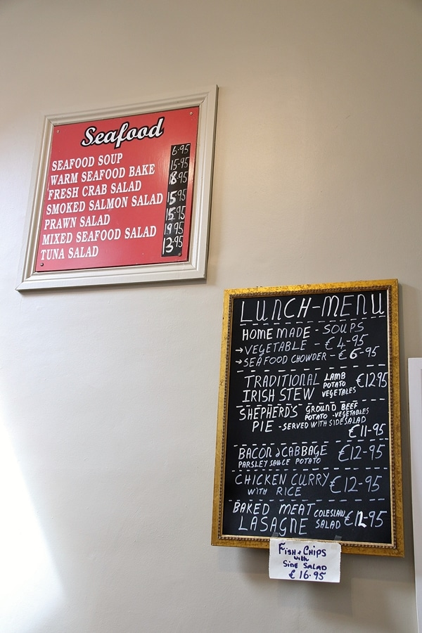 signs inside a restaurant