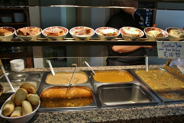a display of food in a restaurant