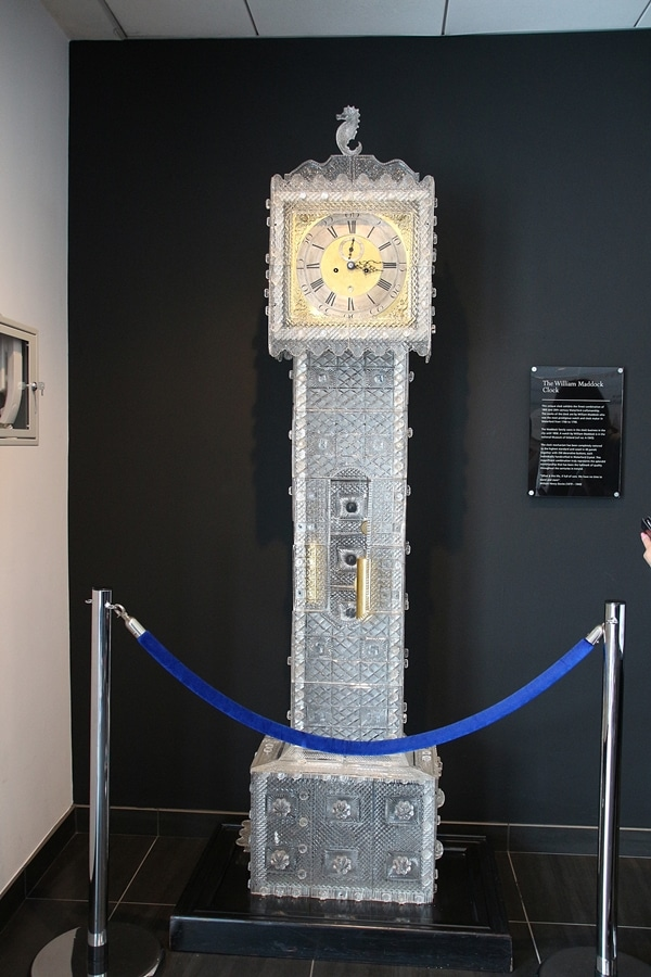 a grandfather clock made of crystal