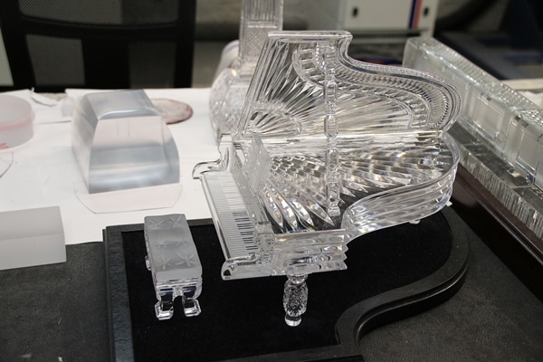 a piano made of crystal