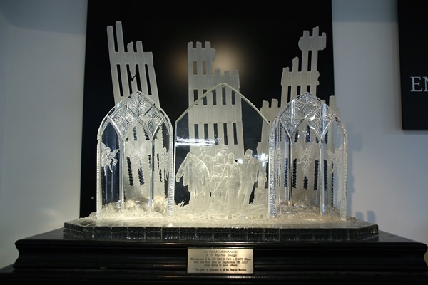 a commemorative crystal statue
