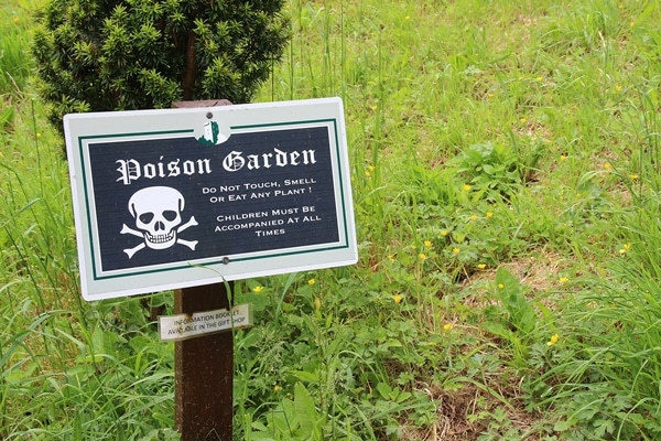 A sign sitting on the grass that says Poison Garden