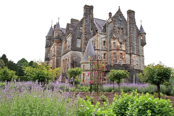 closeup of Blarney House with gardens in front