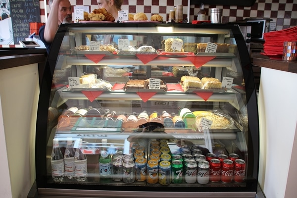 a glass display case in a restaurant
