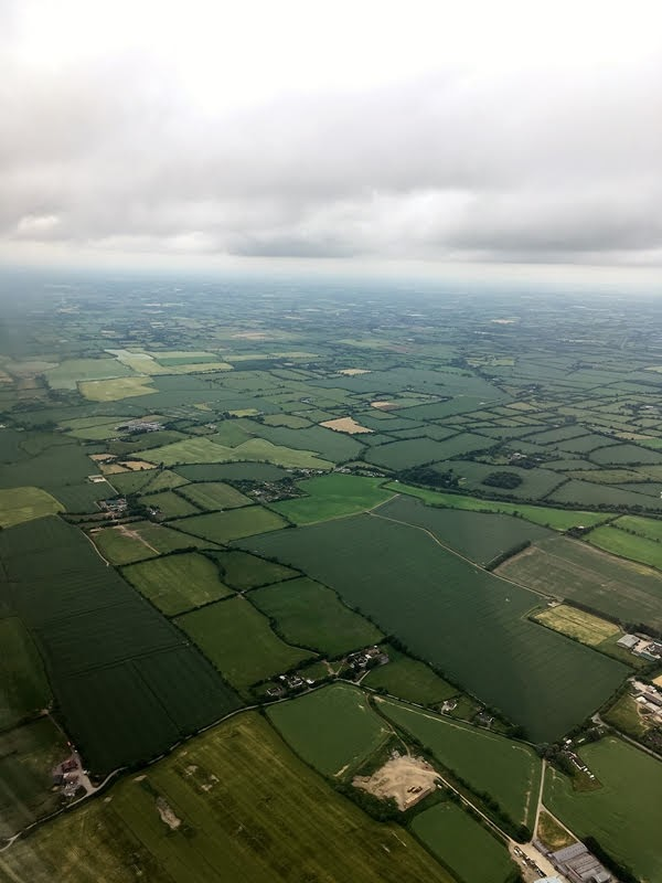 A view of Ireland from an airplane