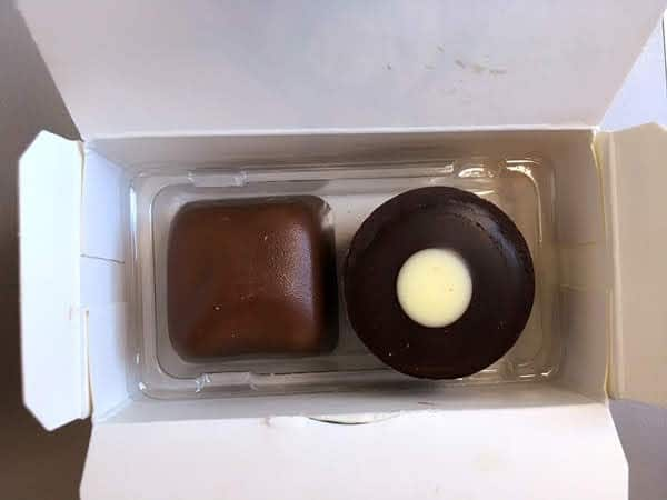 2 pieces of chocolate in a small box