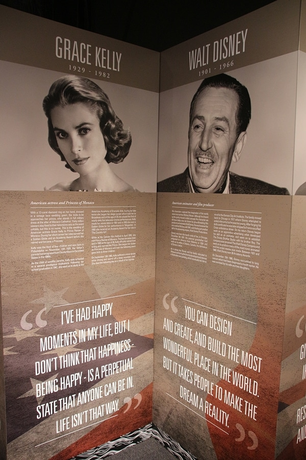 Grace Kelly and Walt Disney on signs with text about them