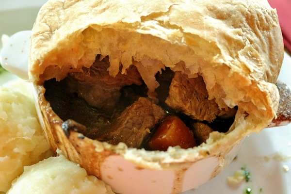 close up of the interior of a beef and Guinness pie