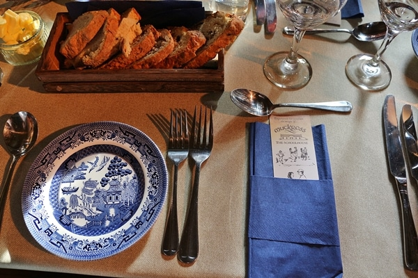 the place setting on a dining table