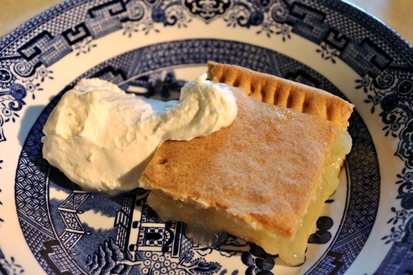 A piece of pie on a plate