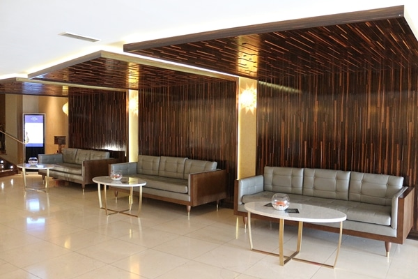 sitting area in a hotel lobby